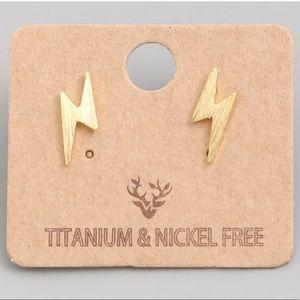 Lightning Bolt Stud Earrings